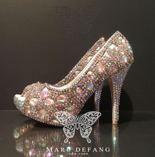 Nigerian Wedding Stunning Blinged Out Bridal Shoes & Accessories By Marc Defang
