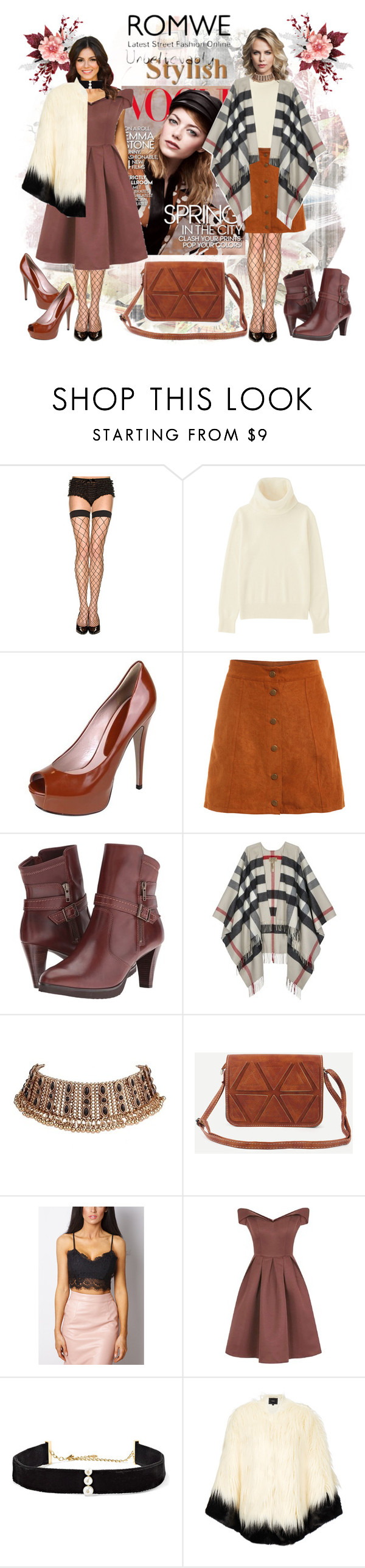 """""""Romwe Camel Bag!"""" by bevmardesigns ❤ liked on Polyvore featuring Uniqlo, Gucci, Walking Cradles, Burberry, Chi Chi, Anissa Kermiche and Unreal Fur"""