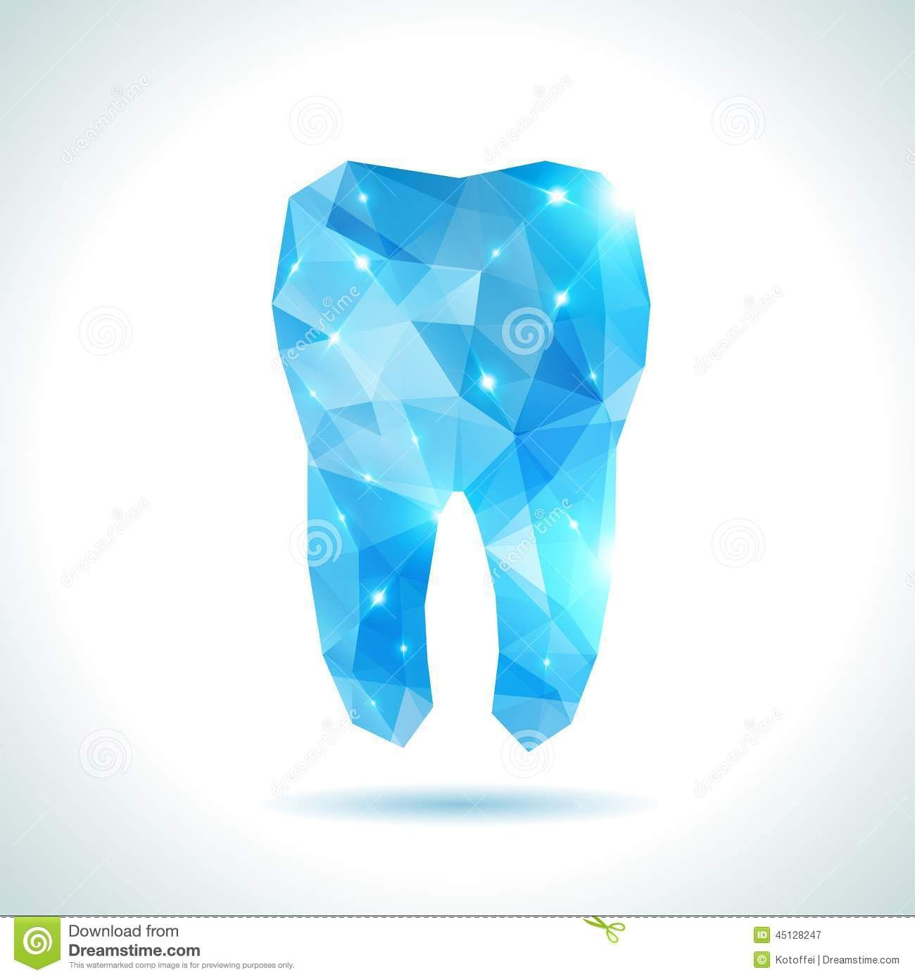 Polygonal Turquoise Vector Tooth Abstract Dental Background Origami Style Background Low Poly