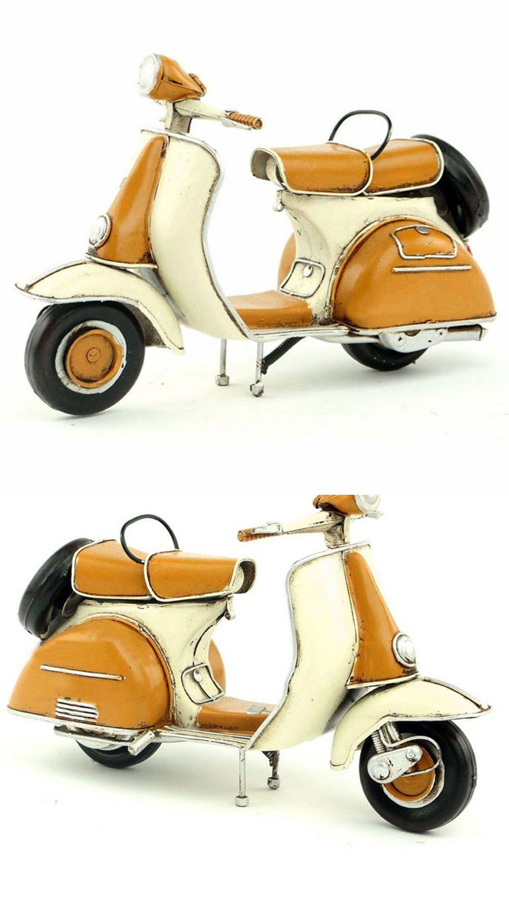 Handmade Antique Tin Model Motorbike Yellow Vespa Scooter 1965