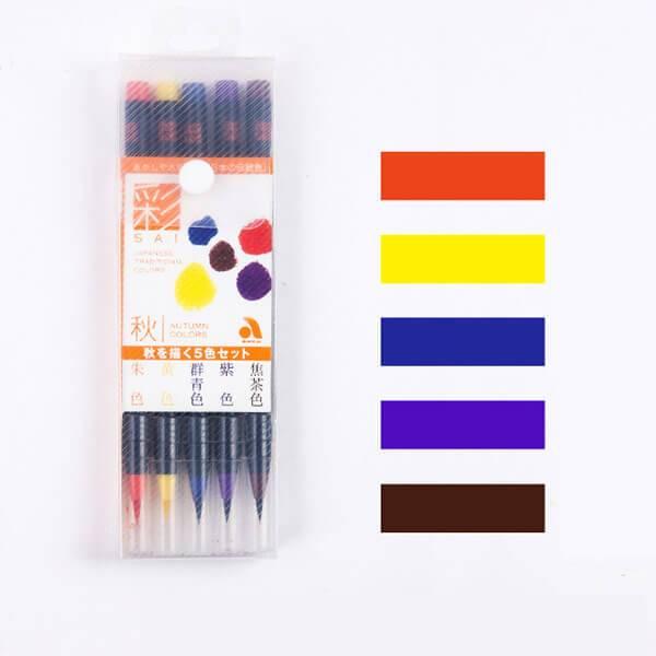 Japan Akashiya Sai Watercolor Brush Pen 5 20 Colors Set Brush