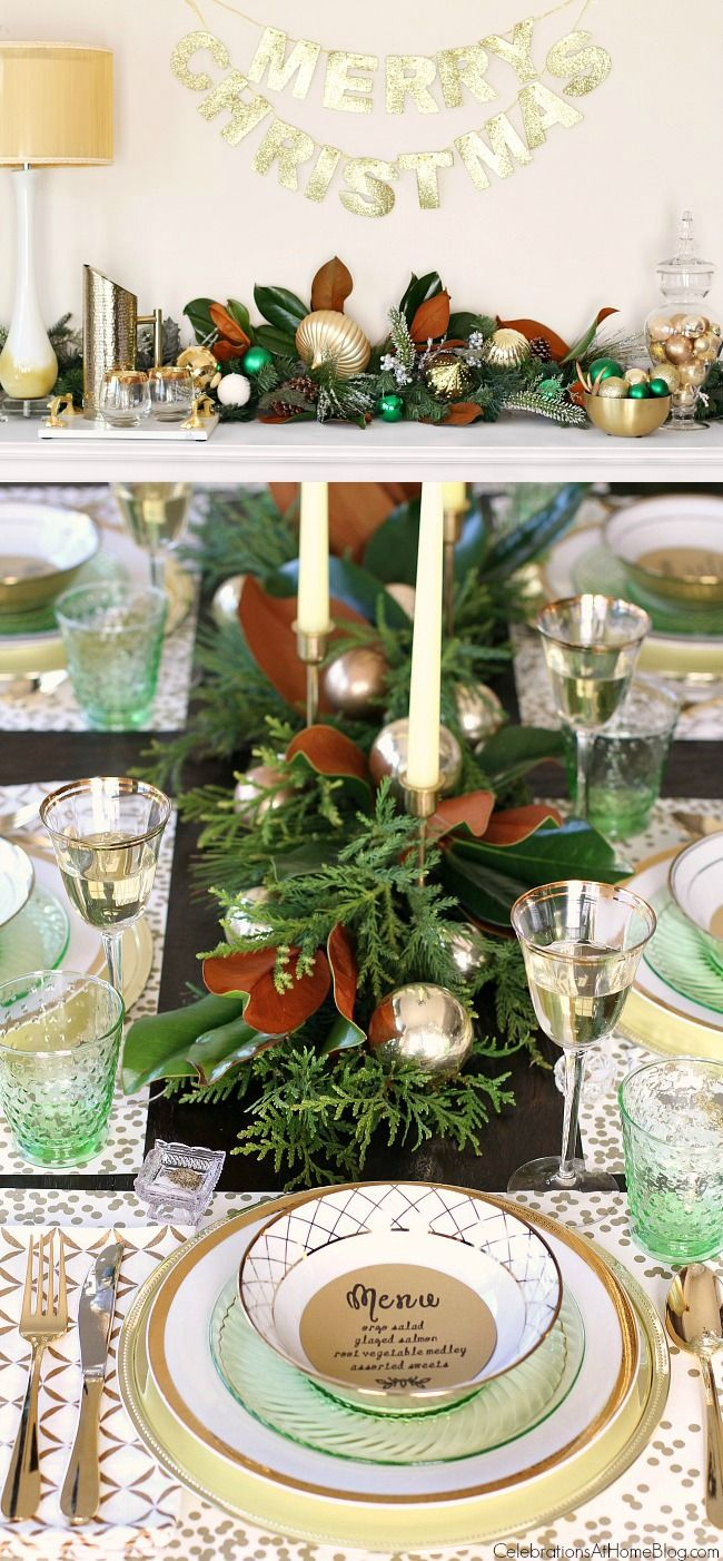 Elegant Green Gold Christmas Tablescape And Dinner Menu Christmas Table Gold Christmas Christmas Tablescapes