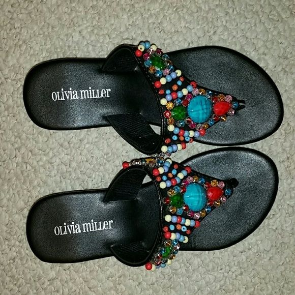 Sandals Multi colored,  worn once, no stones or beads missing Olivia Miller Shoes Sandals
