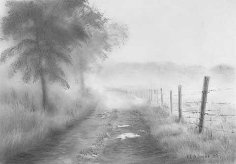 Image Result For Fog Pencil Sketch Landscape Sketch Pencil Drawings Landscape