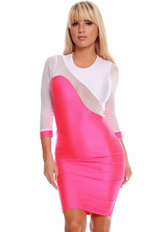 neon pink dress#color block dress#sexy party dress#mesh dress#sexy ...