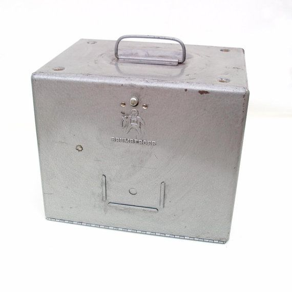 vintage metal storage box brumberger film canister case 1960s industrial storage container file bin - Metal Storage Bins