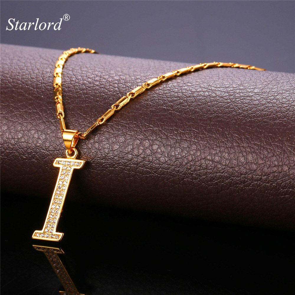 40f5b0ef5640 Initial I Letter Pendants   Necklaces Women Men Personalized Gift Alphabet  Jewelry Gold Color Necklace P1679  Affiliate