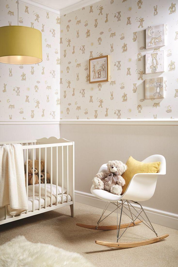 Cute Teddy Bear Wallpaper Perfect For A Nursery