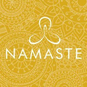 Namaste Logo over yellow henna