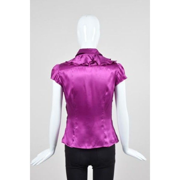 Pre-Owned Prada Fuchsia Purple Silk Cap Sleeve Ruffled Button Down... ($105) ❤ liked on Polyvore featuring tops, blouses, purple, purple ruffle blouse, evening blouses, short sleeve tops, cap sleeve blouse and flutter sleeve blouse