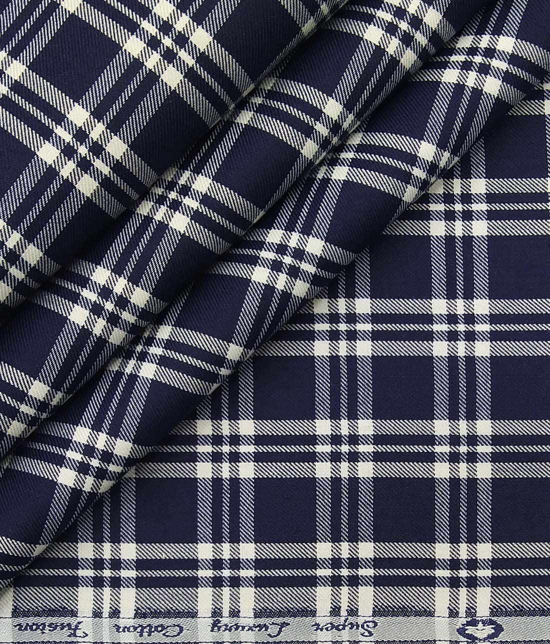 18ffc595 Exquisite Dake Blue Poly Cotton White Checks Shirt Fabric (1.60 M ...