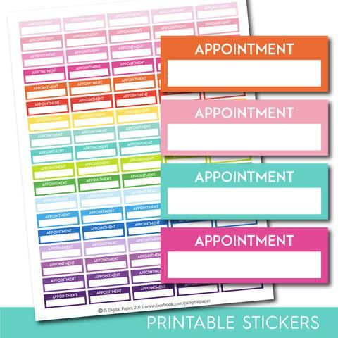 Appointment Stickers Appointment Planner Stickers Printable