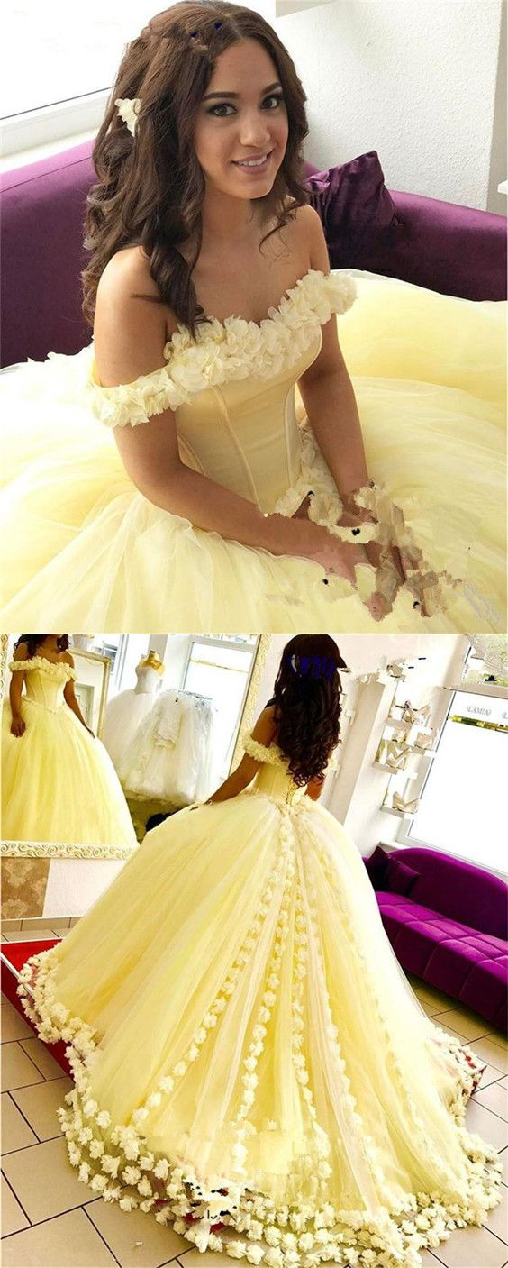 Tulle Flower Quinceanera Dresses Ball Gowns With Off Shoulder