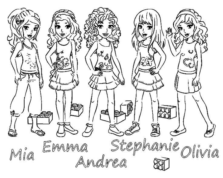 Lego Friends 5 Main Girls Coloring Page Lego Coloring Pages Lego Coloring Coloring Pages For Girls