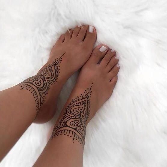 You Searched For Anklets For Ladies Look Up To Thousands Of Hand Crafted Vintage And One Of A Kind Goods And Their Personal With Images Anklet Tattoos Henna Tattoo Foot
