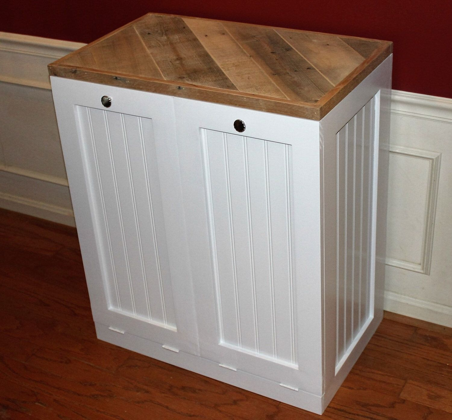 rustic tilt out trash bin and recycle bin double cabinet bin white by familybarnyard on etsy. Black Bedroom Furniture Sets. Home Design Ideas