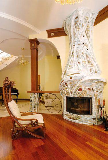 Дизайн каминов в стиле арт деко, минимализм, кантри и лофт в интерьерах гостиной