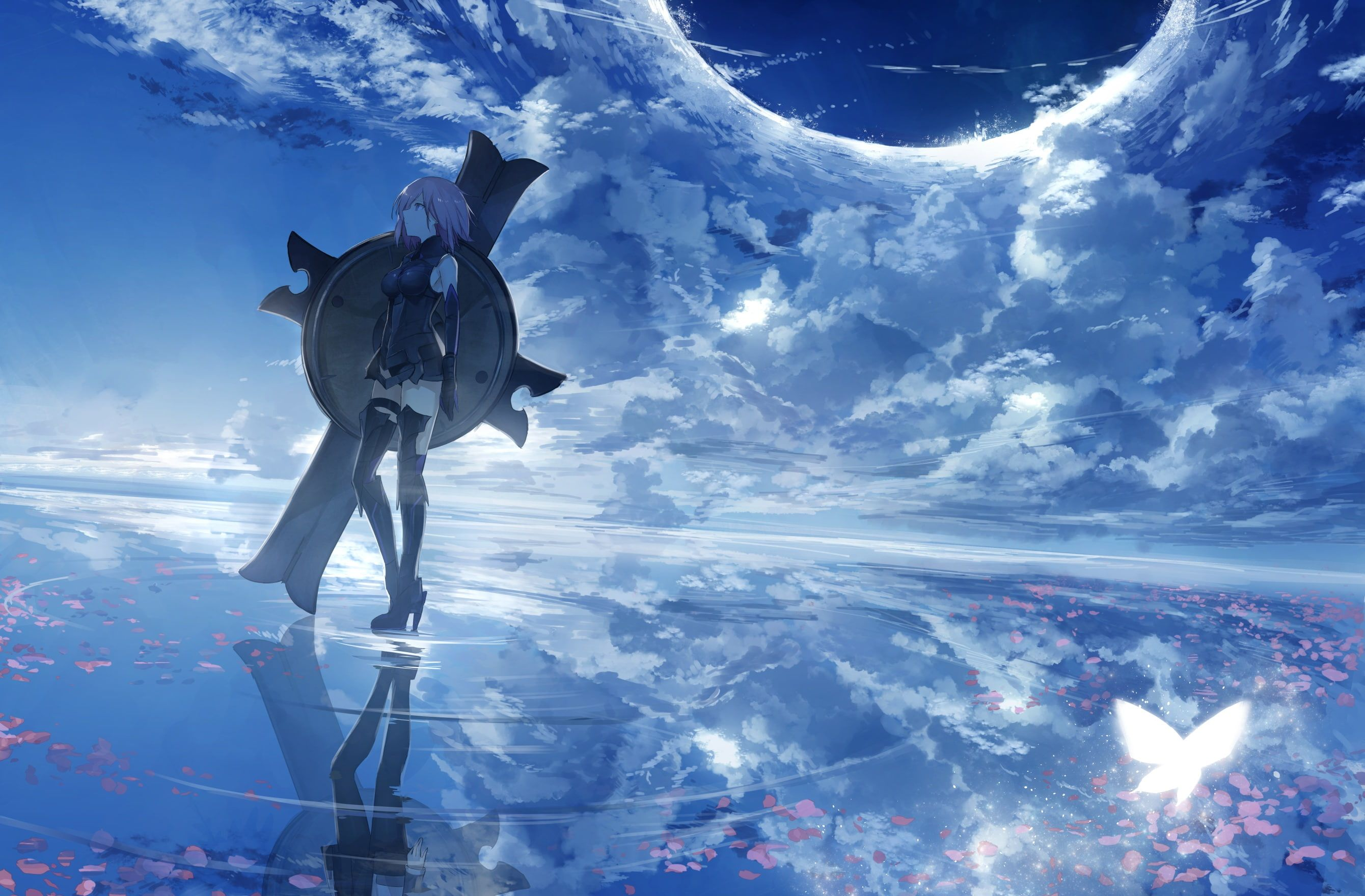 Anime Girls Anime Anime Grasoso Sky Fantasy Girl Reflection