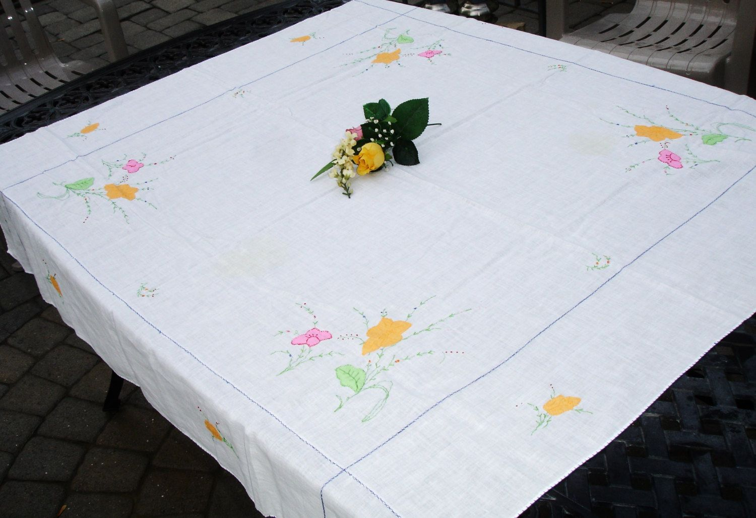 Applique designs for tablecloth - Tablecover Table Cloth Embroidery Applique Floral Detailing Vintage Tablecloth Tea Table Cloth Linen Tablecloth Cottage Chic