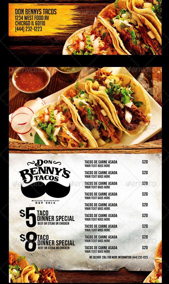 Mexican Menu Template | Food menu/flyer/poster | Pinterest | Tacos ...