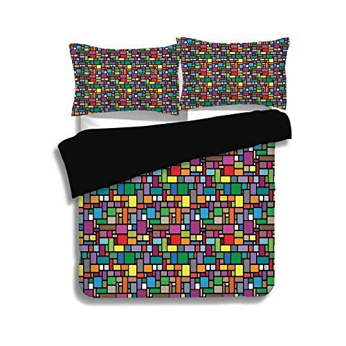 Zomoy Black Duvet Cover Set Queen Sizegeometricvibrant Colored - Geometrical-shapes-on-bedding