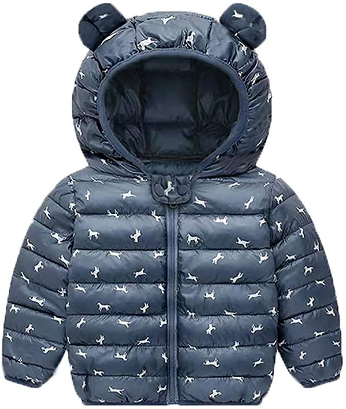 Baby Boys Girls Light Puffer Jacket Cartoon Bear Hoodie Coats Winter Down Cotton Outwear