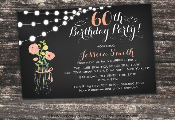 Surprise 60th Birthday Invites Adult Surprise Birthday Invites