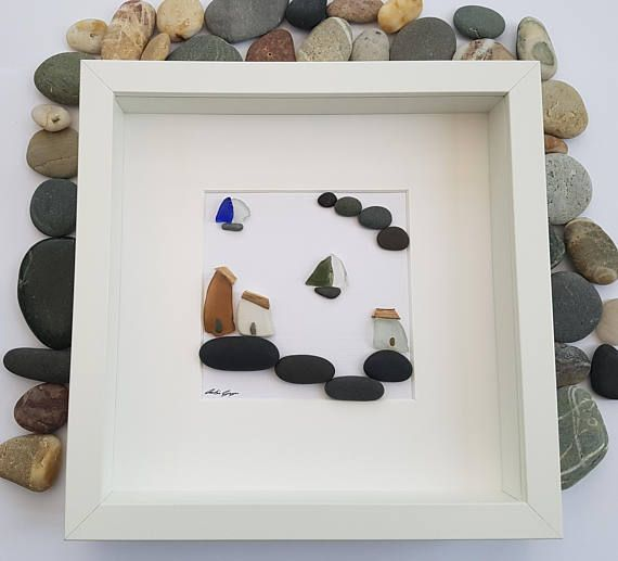 A beautiful and unique handmade pebble art picture of sea glass ...