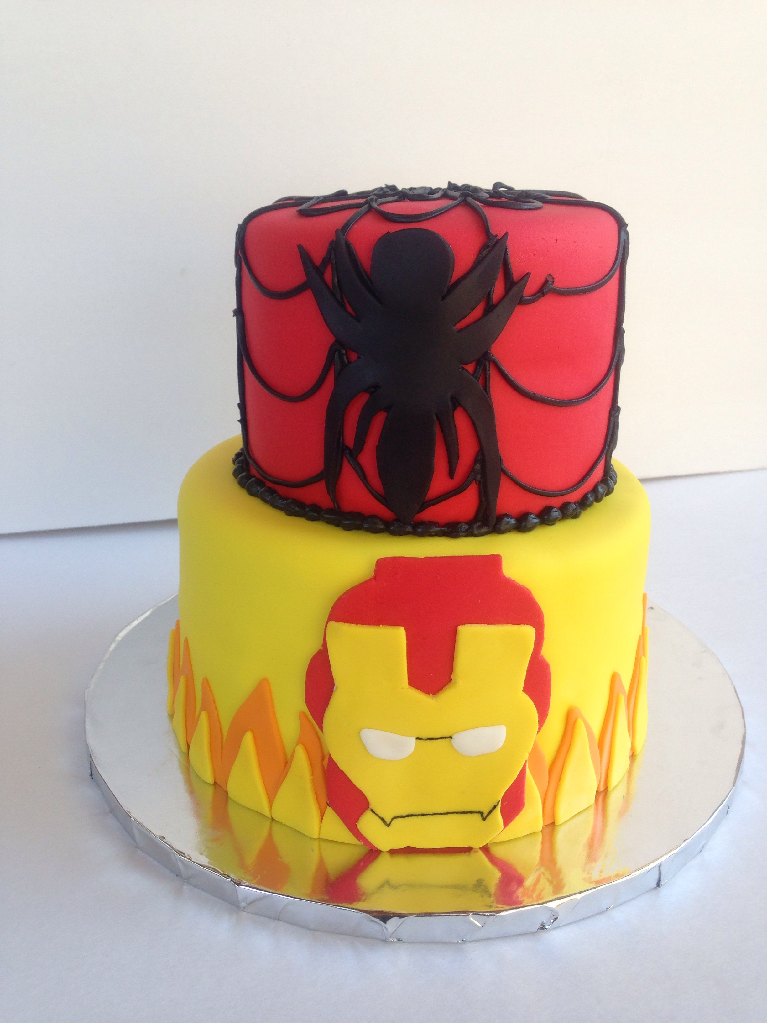 Iron Man And Spider Man Fondant Cake The Flour Girl