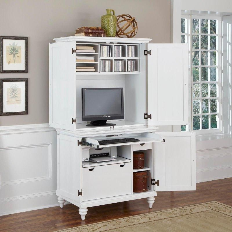 Gentil Home Styles Bermuda Brushed White Compact Computer Cabinet And Hutch   Computer  Armoires At Hayneedle