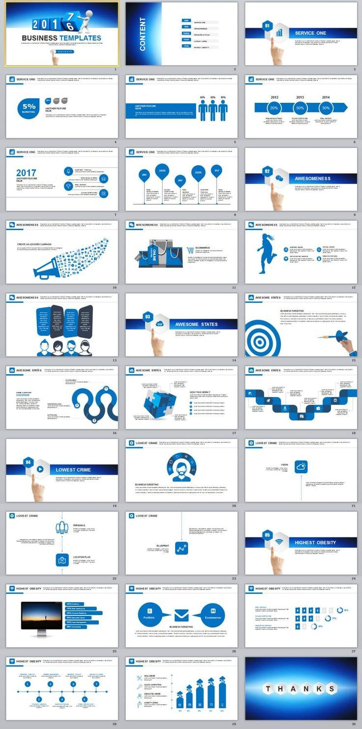 Business infographic 30+ Blue chart report PowerPoint