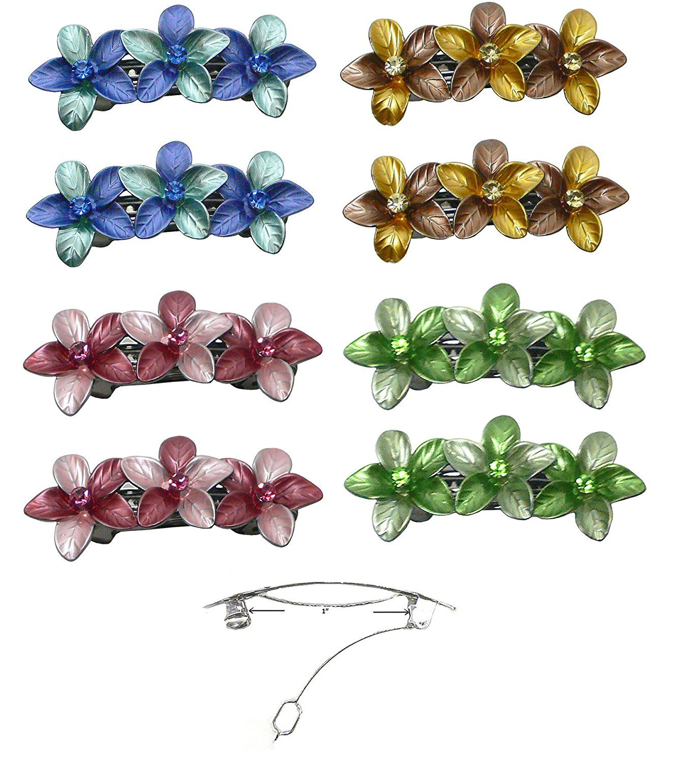 Set of 4 Pairs (8 units) Flower Barrettes, Decorated with Sparkling Crystals NF86400-GL11-8 * Check this awesome product by going to the link at the image.
