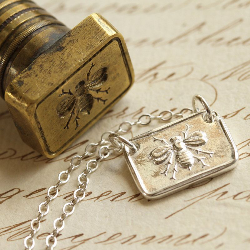 Victorian Bee Wax Seal Necklace Fine Silver and Sterling