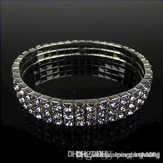 Diamond Bridal Set 2015 Party Gift Hot Sale 3 Row Bling Bling Rhinestone Stretch Bangle Wedding Bracelet Bridal Jewelry Accessories Earrings For Wedding From Rieshaneeawedding, $0.92  Dhgate.Com