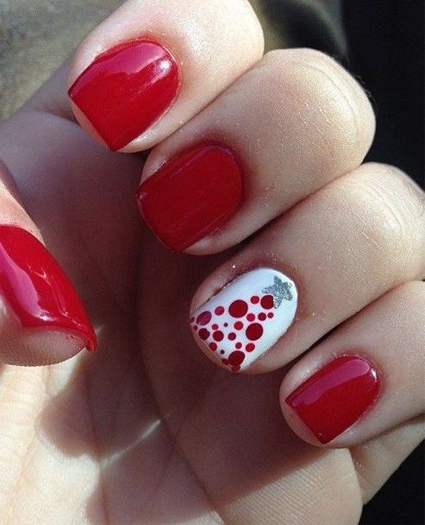 Red Prom Nail Design With One White Dotted Nail Unas Pinterest