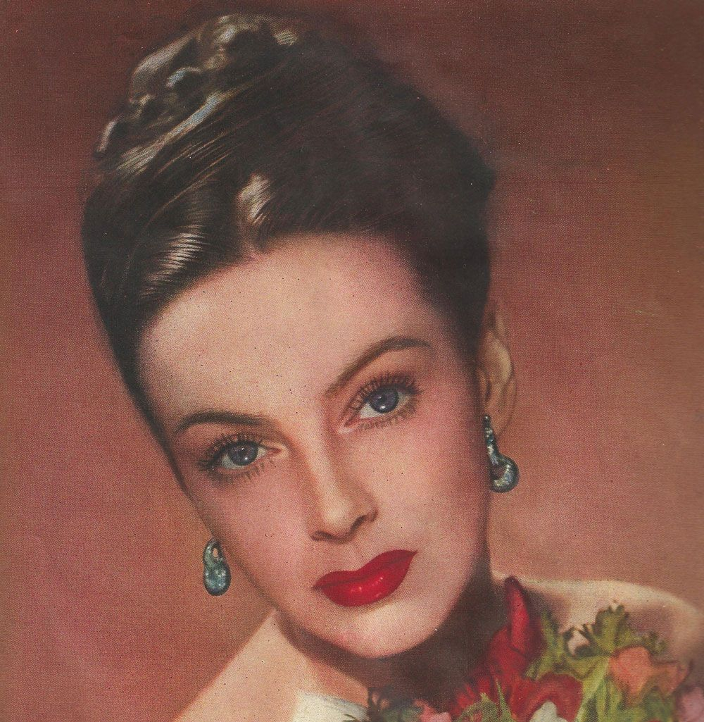 Advert by Jennifer Graham Cosmetics showing classic '40s makeup w the hunters bow lip shape look worn famously  by Joan Crawford