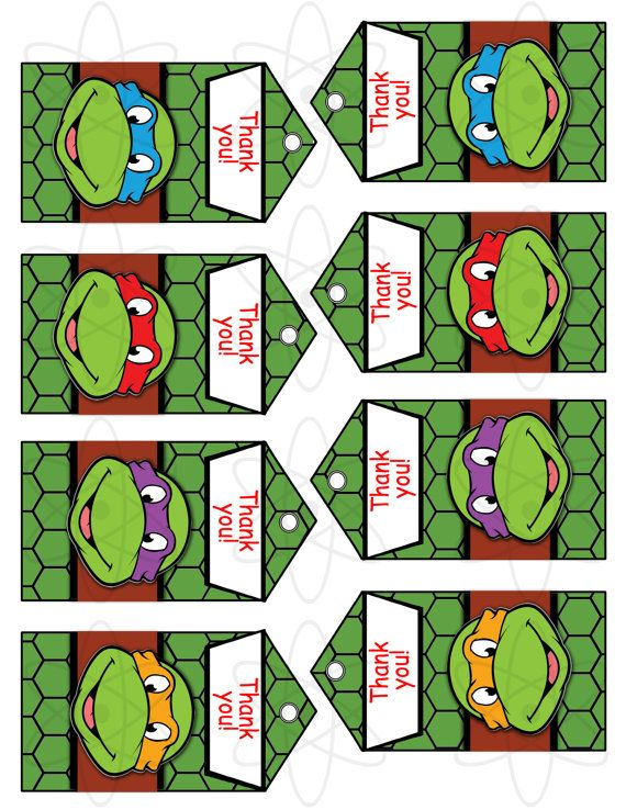 Printable Favor Tags Instant Download Teenage Mutant