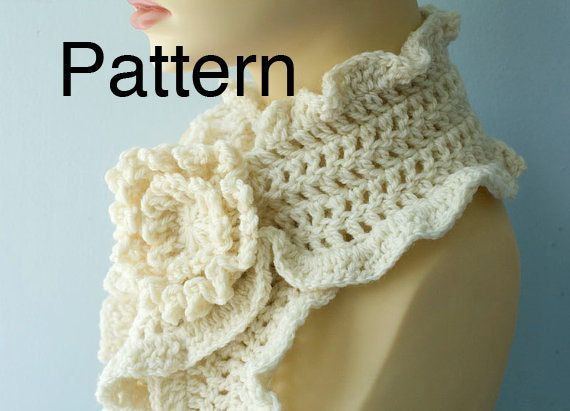 Crochet Ruffle Scarf Pattern Including Pattern For Crocheted Flower