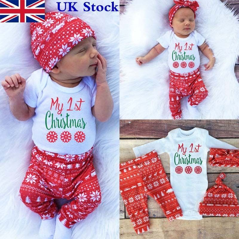 29d4faa56 Cute Newborn Baby Boy Girls First Christmas Clothes Romper Pants Hat Outfit  4PCS