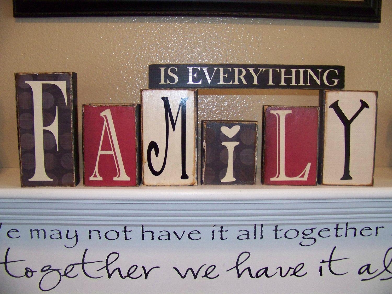 Family Is Everything Vinyl Lettering Blocks Vinyl Wood