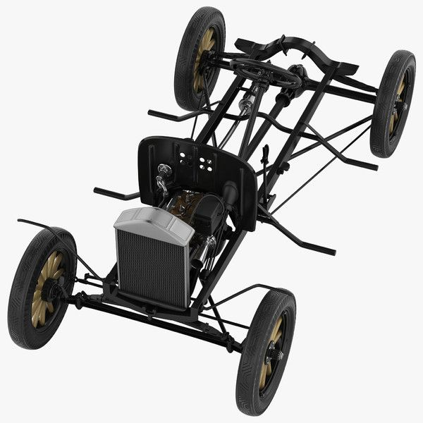 3d Model Ford Model T Chassis And Engine Machine Motor Classic