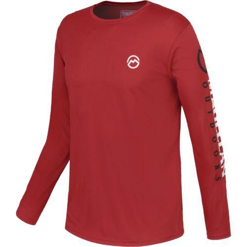 a1f04b2f6c0 Magellan Outdoors Men s Casting Crew Moisture Management Long Sleeve T-shirt  (Rio Red