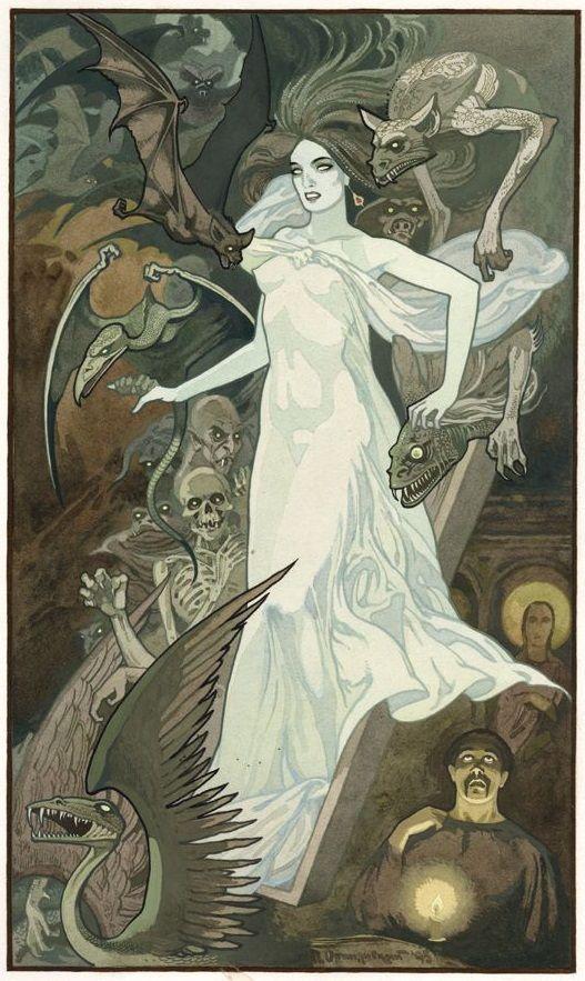 """Pavel Orinyansky's illustration for """"Viy"""" by Nikolai Gogol"""