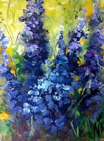 Larkspur - Flowers in Violet, painting by artist Nancy Medina