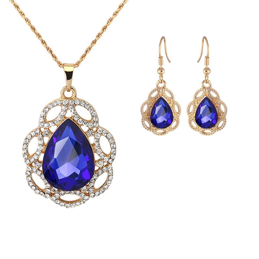 Women jewelry set crystal rhinestone pendant necklace and earring