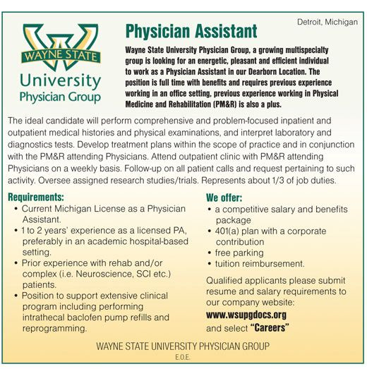 Wayne State University Physician Group Physician Assistant Wanted In Detroit Michigan Ne Physician Assistant Jobs Physician Assistant Wayne State University