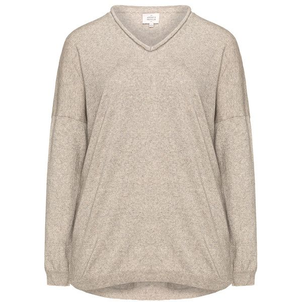 Amber and Vanilla Beige / Mottled Plus Size Cashmere and cotton jumper (370 RON) ❤ liked on Polyvore featuring tops, sweaters, beige, plus size, pink v neck sweater, cotton cashmere sweater, womens plus size sweaters, v neck sweater and long sleeve sweater