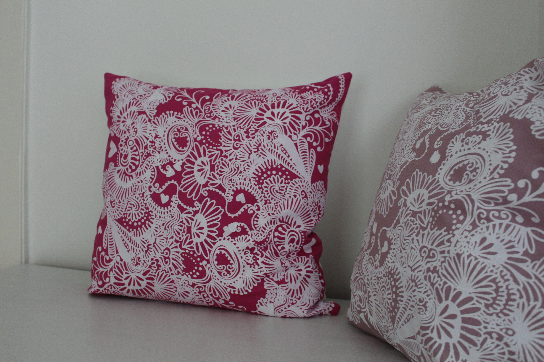 Kissen Ca 50x50 Pink Weiß Boho Geblümt Kissenhülle Etsy Kissen Decken Blattmuster Sofakissen
