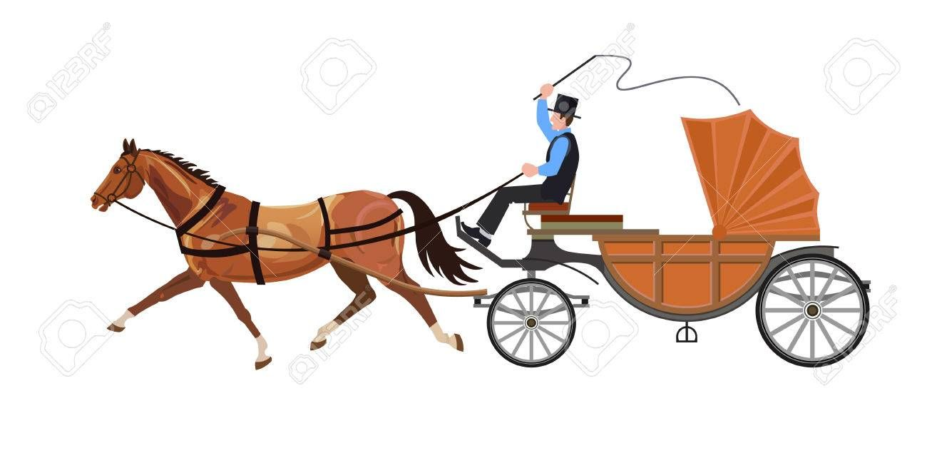 Horse Carriage The Horse Runs Trotting Vector Illustration Illustration Ad Horse Runs Horse Carriag Horse Illustration Horse Carriage Illustration