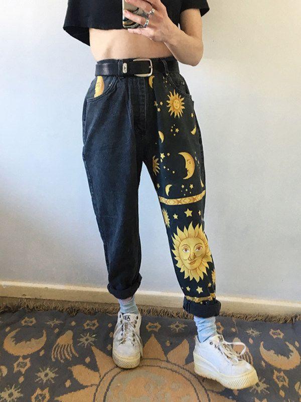 (November Sale🛒) Fashion Moon Star Print Casual Pants - Chicshes.com